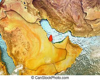 Qatar on illustrated globe