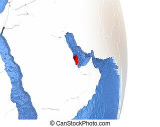 Qatar on shiny globe with water
