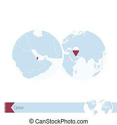 Qatar on world globe with flag and regional map of Qatar.