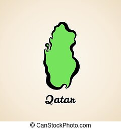 Qatar - Outline Map - Green simplified map of Qatar with ...