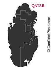 Qatar political map, State of Qatar geography outline vector...