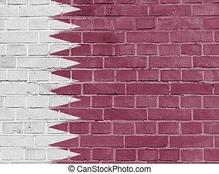 Qatar Politics Concept: Qatari Flag Wall