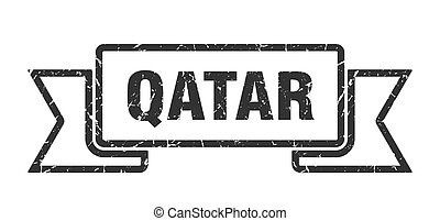 Qatar ribbon. Black Qatar grunge band sign