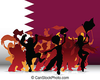 qatar, sport, ventilatore, bandiera, folla
