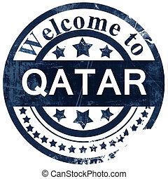 Qatar stamp on white background