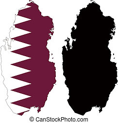 qatar - vector map and flag of Qatar with white background.