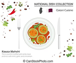 Qatari Cuisine. Middle East national dish collection. Kousa ...