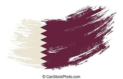 Qatari flag grunge brush background. Vector illustration.