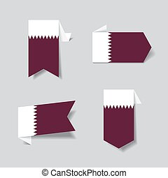 Qatari flag stickers and labels. Vector illustration. - ...