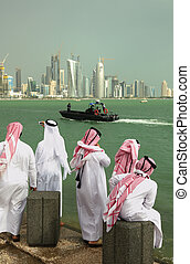 Qataris on national day - Qatari citizens in national dress...