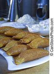 Qatayef or Katayef, Arabic Sweets with Nuts for Ramadan and Eid