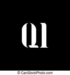 qi, q, lettera, design., qi, iniziale, logotipo, monogram, logotipo, color., bianco, maiuscolo