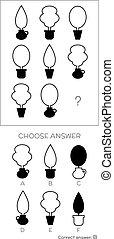 q.i., test., choisir, correct, réponse