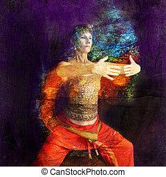 Qi - Woman in Asian Yoga Qigong influenced pose in a rust...