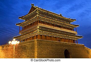 qianmen, puerta, zhengyang, hombres, cuadrado de tiananmen, beijing, china, noche