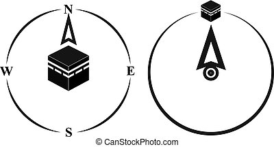 Qibla - muslim prayer direction. Kaaba direction. Mecca. Saudi Arabia. Qibla - Islamic -Arab- term used for the direction for offering a prayer, which is Kaaba in Mecca. Vector isolated illustration.