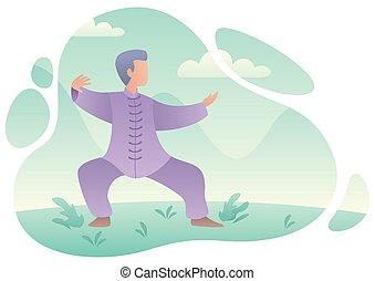 qigong, 練習する, 人