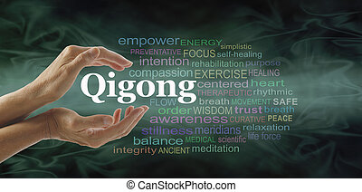 Qigong word cloud and healing hands