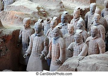 qin, célèbre, guerriers, terre cuite, huang's, xian, tombe,...