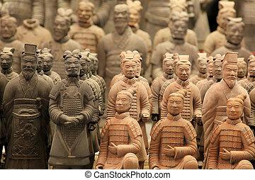 qin, famoso, guerreros, terracota, huang's, xian, tumba,...