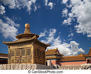 qing, fin, chino, ciudad, --, prohibido, dinastía, ming, china, beijing, imperial, era, palacio