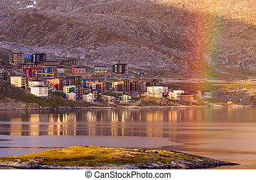 Qinngorput, Greenland - The modern part of Nuuk city,...