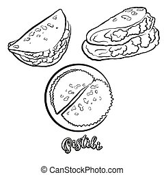 Qistibi food sketch separated on white. Vector drawing of Flatbread, usually known in Tatarstan, Bashkortostan. Food illustration series.