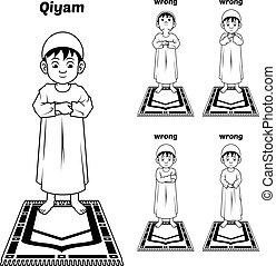qiyam, アウトライン, muslim, 祈とうポジション, ガイド