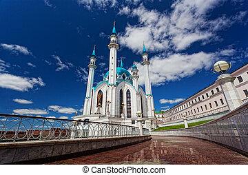 Qol Sharif mosque in Kazan, Russia against the beautiful sky