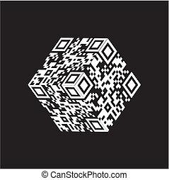 qr, código, cubo, moderno