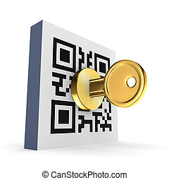 QR code concept.Isolated on white background.3d rendered.