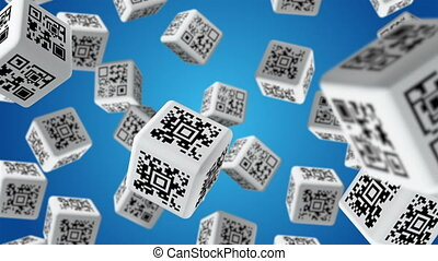 QR Code - Falling cubes with QR code labels
