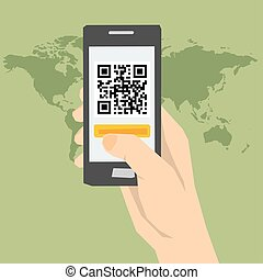 QR code - hand with phone