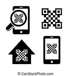 QR code icons scanner symbol set vector