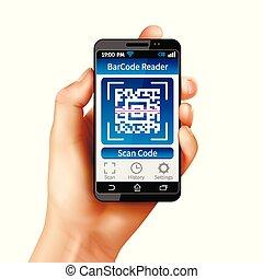 qr, code, intelligent, téléphone, illustration