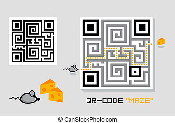 QR-code maze - Fun maze QR-code with cheese-mouse game
