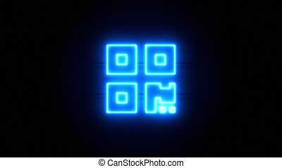 QR code neon sign appear in center and disappear after some time. Animated blue neon icon on black background. Looped animation.