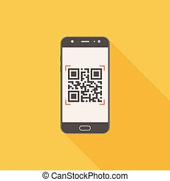 QR code on mobile phone flat design icon with long shadow