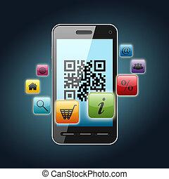 qr code on smartphone screen over dark background