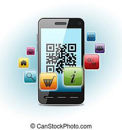 qr code on smartphone screen over light background