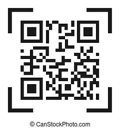 qr, code, pictogram, vector, vrijstaand, op wit, achtergrond., digitale informatie, meldingsbord