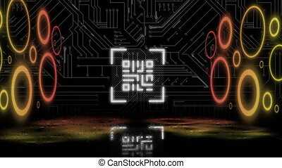 Animation of digital interface with QR code, computer circuit board and neon circles flashing on black background. Global computer network technology concept digitally generated image.