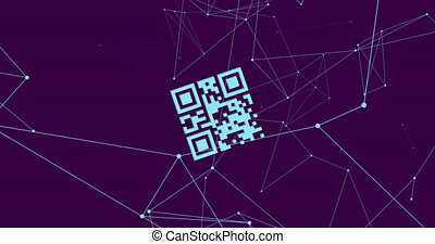 QR code scanner over network of connections against blue ...