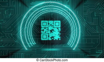 Animation of glowing QR code with green neon circle elements and green circuit board in the background. Global online security data technology concept digitally generated image.
