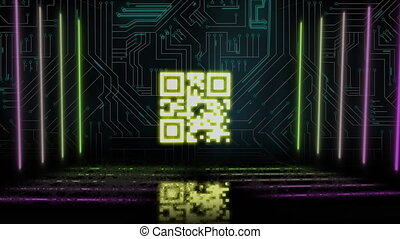 Animation of glowing yellow QR code with yellow and pink neon elements and computer circuit board on black background. Global online security data technology concept digitally generated image.