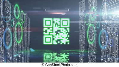 Animation of glowing QR code with blue and green neon elements and computer circuit boards on black background. Global online security data technology concept digitally generated image.