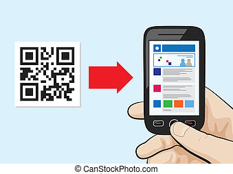 QR Code scanning technology - Illustration of mobile phone ...