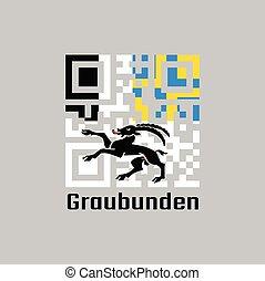 QR code set the color of graubunden flag, The canton of Switzerland with text graubunden.