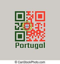 QR code set the color of Portugal flag, 2:3 vertically striped bicolor of green and red, with coat of arms of Portugal centred over the color boundary