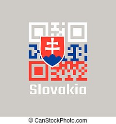 QR code set the color of Slovak flag, white blue and red; charged with a shield containing a white cross is placed to left of center. text: Slovakia.